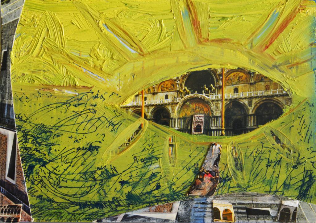 Cartoline da Venezia, Basilica di San Marco, (olio e collage su cartolina, 2008)